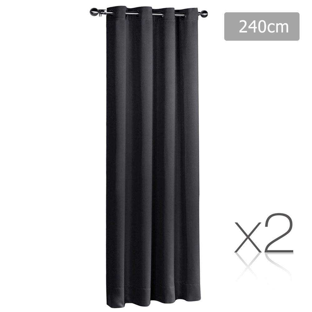 Set of 2 ArtQueen 3 Pass Eyelet Blockout Curtain Black 240cm