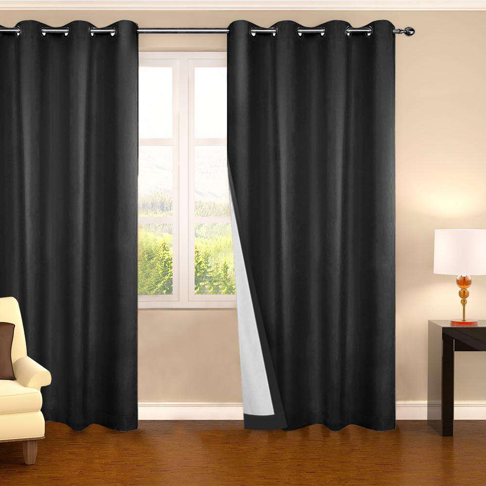 Set of 2 140CM Blockout Eyelet Curtain – Black - Desirable Home Living