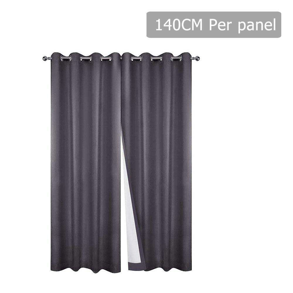 Set of 2 140CM Blockout Eyelet Curtain – Grey