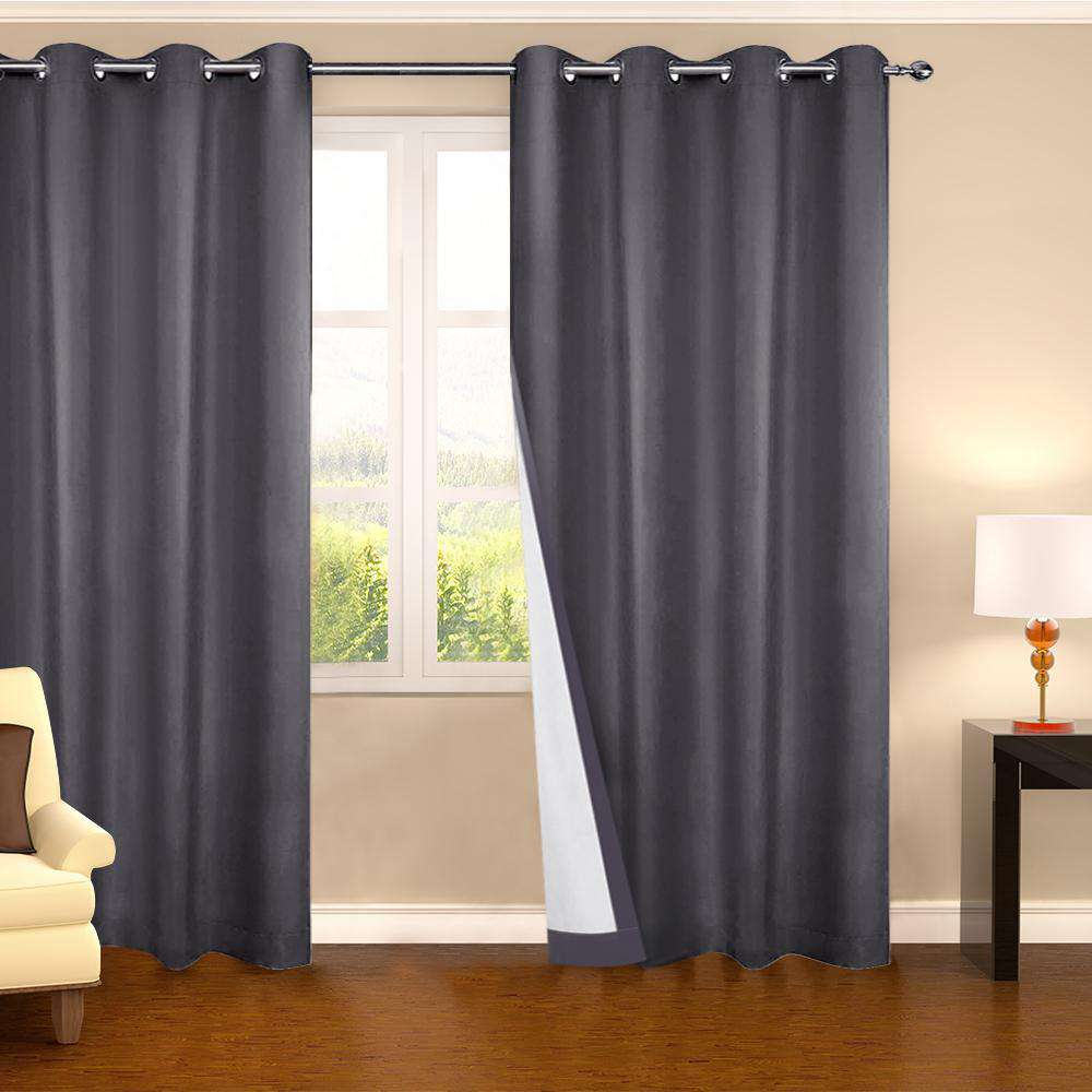 Set of 2 140CM Blockout Eyelet Curtain – Grey - Desirable Home Living