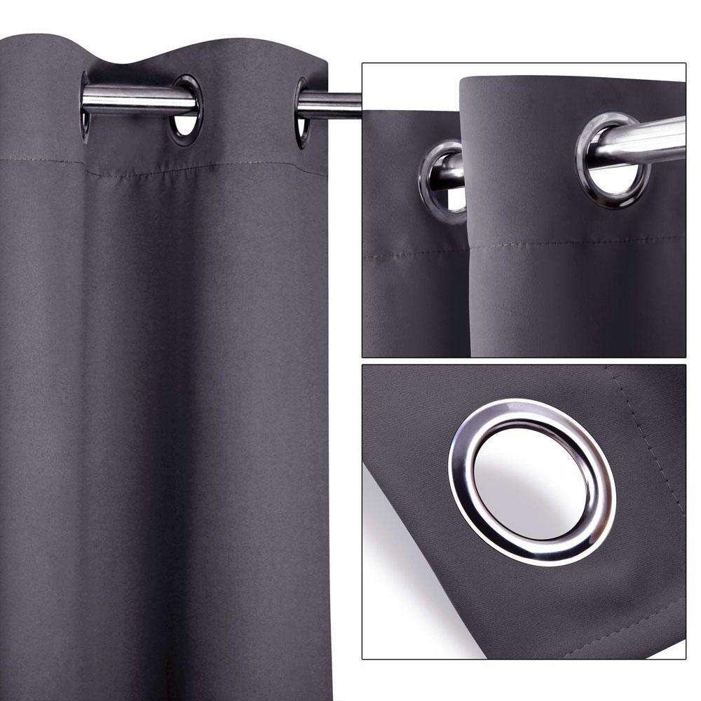 Set of 2 180CM Blockout Eyelet Curtain – Grey - Desirable Home Living
