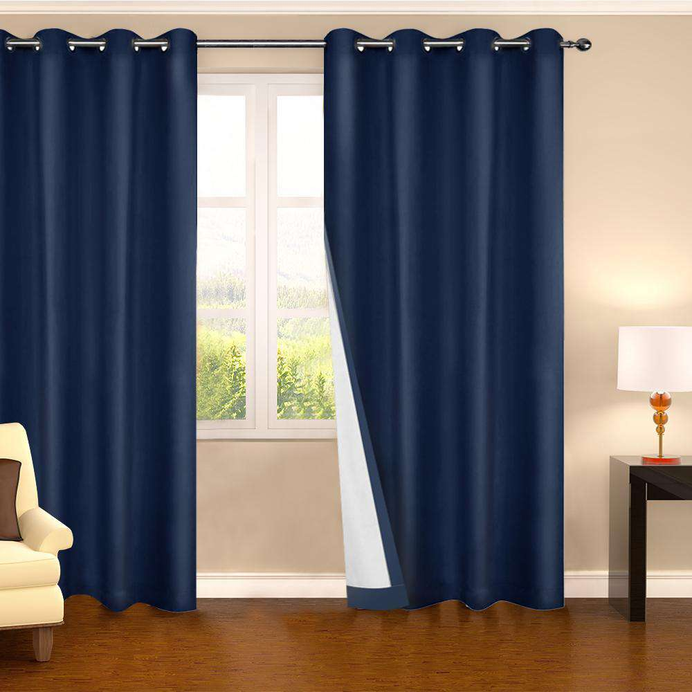 Set of 2 180CM Blockout Eyelet Curtain – Navy - Desirable Home Living