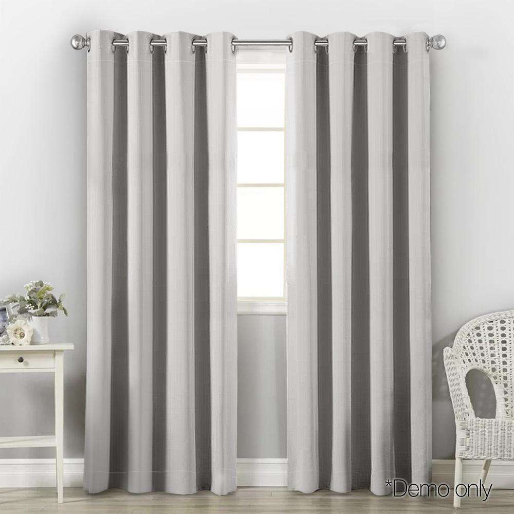 Art Queen 2 Panel 140 x 213cm Block Out Curtains - Light Grey