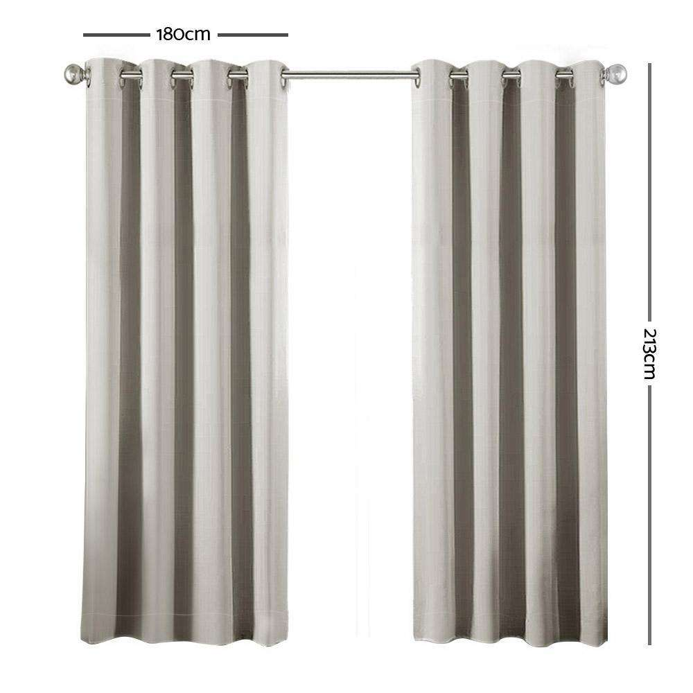 Art Queen 2 Panel 180 x 213cm Block Out Curtains - Ecru