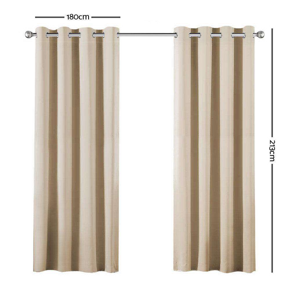 Art Queen 2 Panel 180 x 213cm Block Out Curtains - Latte