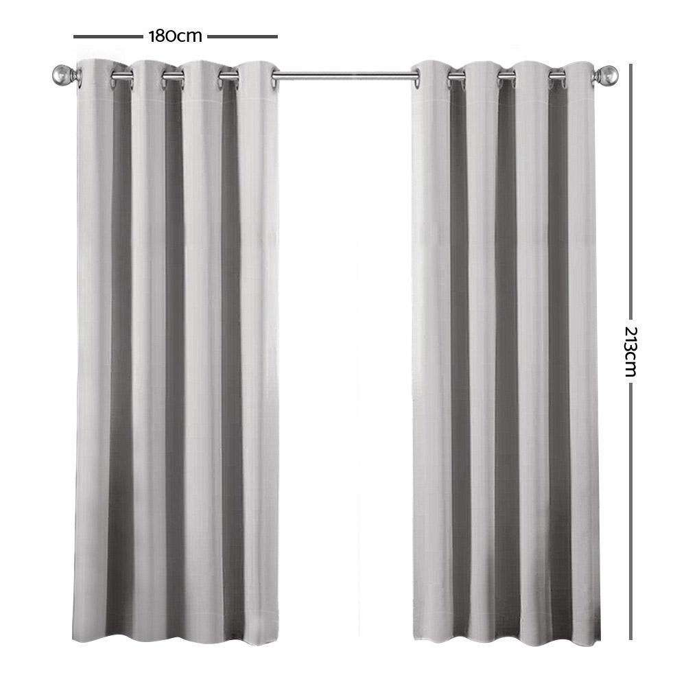 Art Queen 2 Panel 180 x 213cm Block Out Curtains - Light Grey