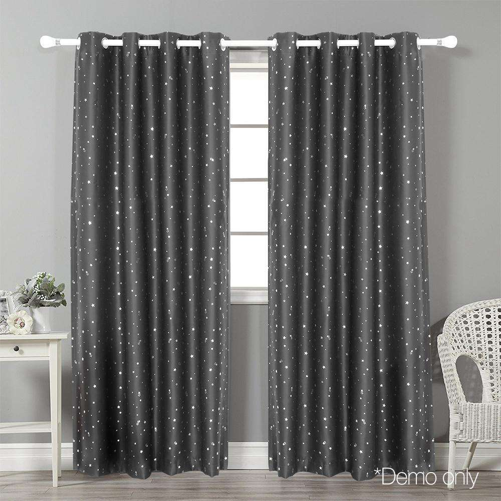 Art Queen 2 Star Blockout 240x213cm Blackout Curtains - Grey