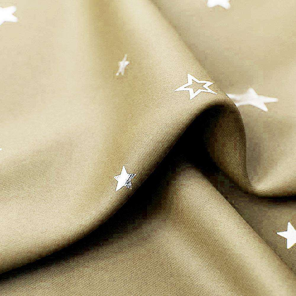 Art Queen 2 Star Blockout 180x230cm Blackout Curtains - Latte