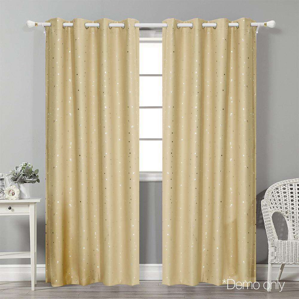 Art Queen 2 Star Blockout 300x230cm Blackout Curtains - Light Grey