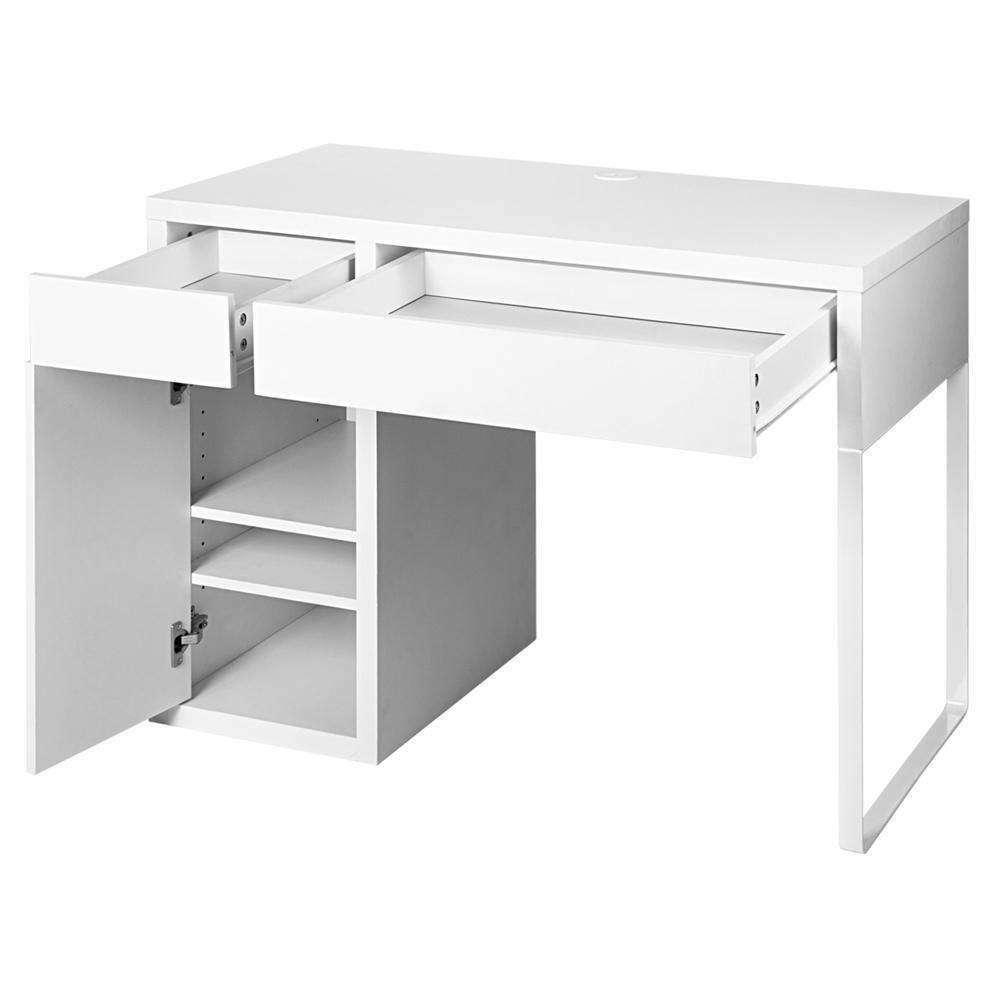 Office Study Computer Desk Cabinet White - Desirable Home Living