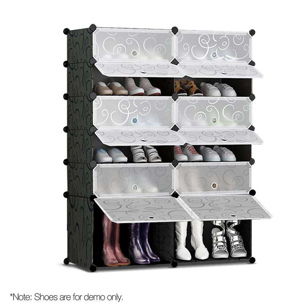 12 Shoe Stackable Compartments Black and White