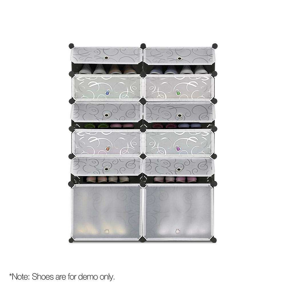 12 Shoe Stackable Compartments Black and White - Desirable Home Living