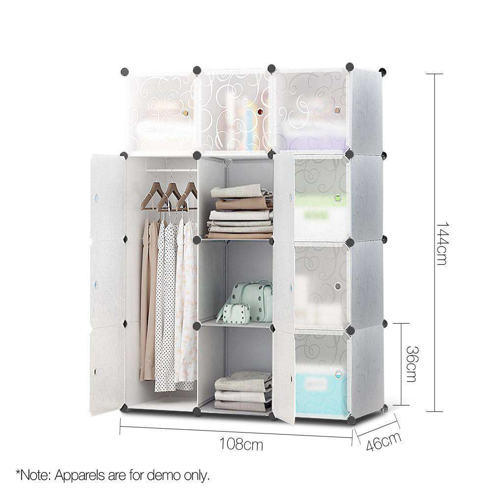12 Stackable Cube Storage Cabinet White - Desirable Home Living