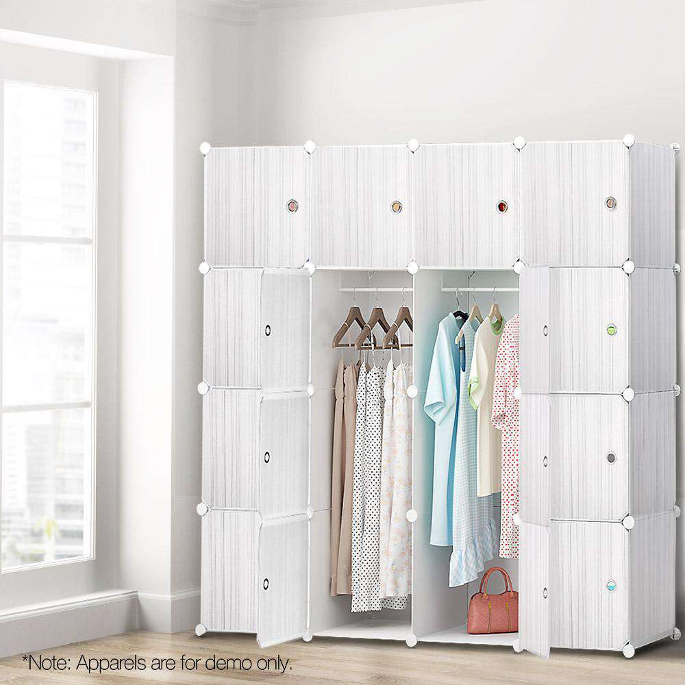 16 Stackable Cube Storage Cabinet White - Desirable Home Living
