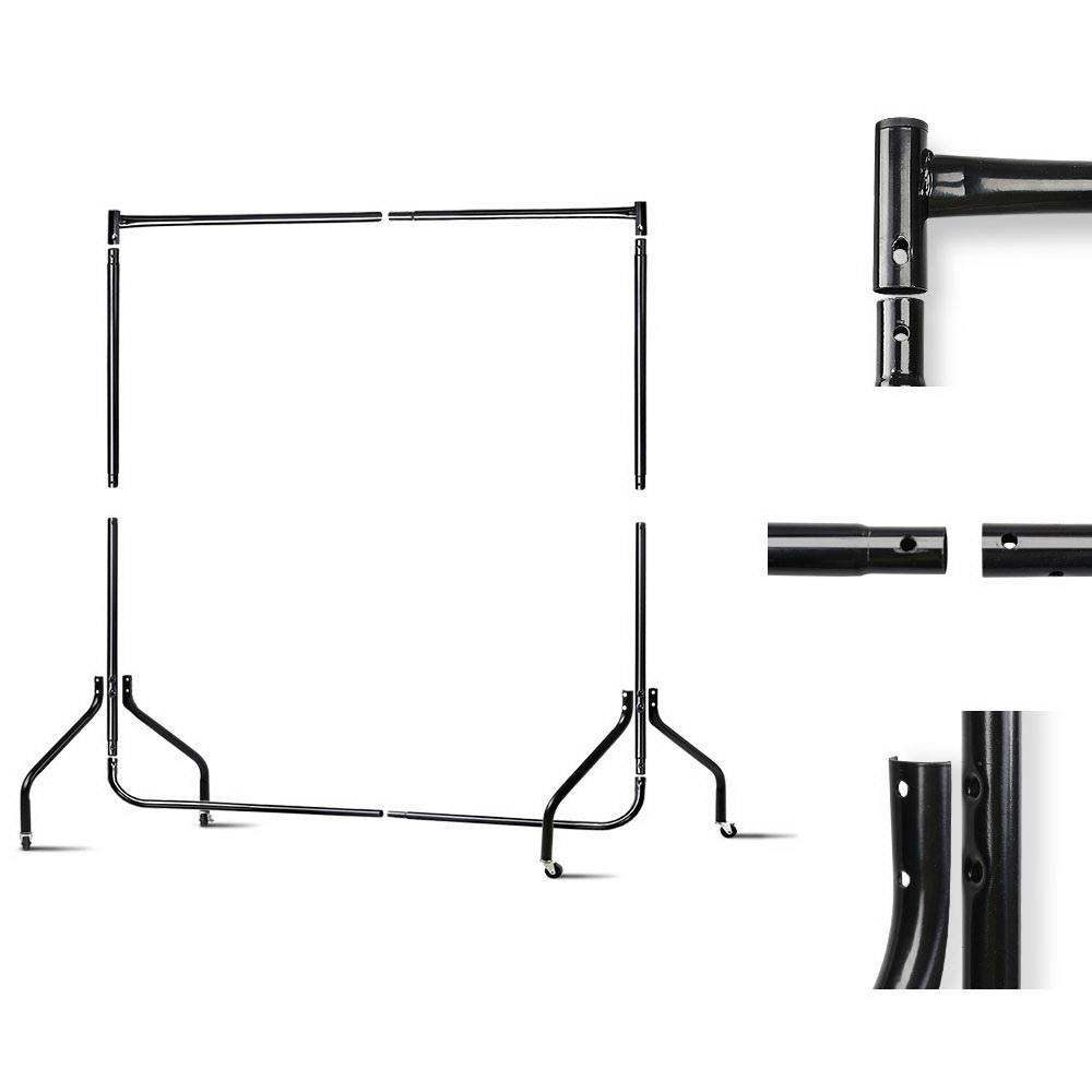 6FT Metal Garment Display Rail - Black
