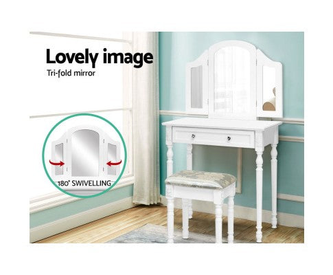 Artiss Dressing Table With Stool & Mirror