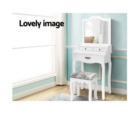 Artiss Dressing Table Stool Mirror Jewellery Cabinet 3 Drawers