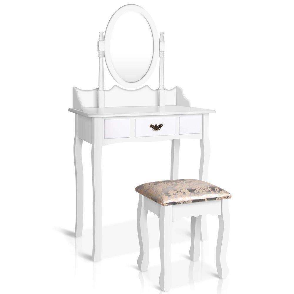 Single Drawer Dressing Table with Mirror White