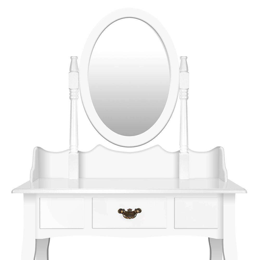 Single Drawer Dressing Table with Mirror White - Desirable Home Living