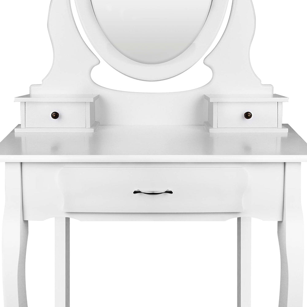 Deluxe Dressing Table & Stool Mirror Jewellery Cabinet 3 Drawers Organiser