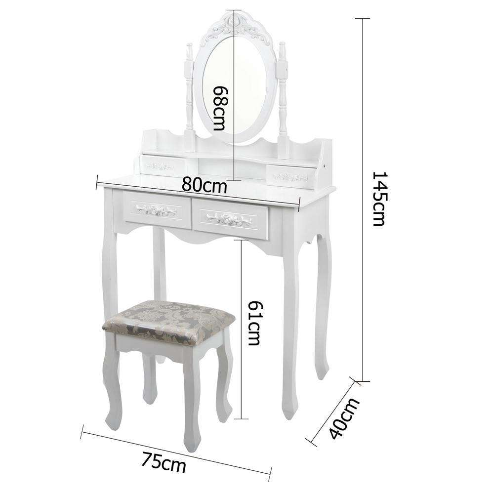 Artiss 4 Drawer Dressing Table with Mirror - White