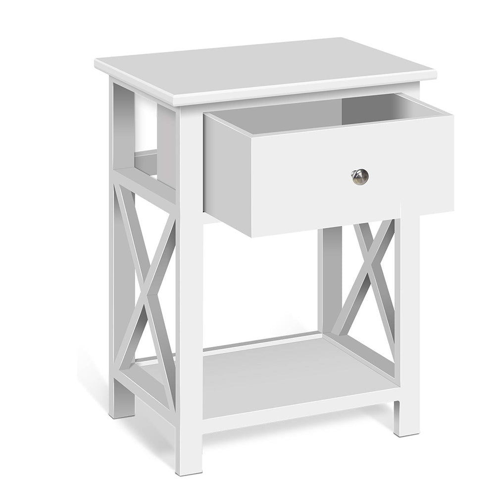 Artiss Wooden Bedside Table with Cabient Drawer - White