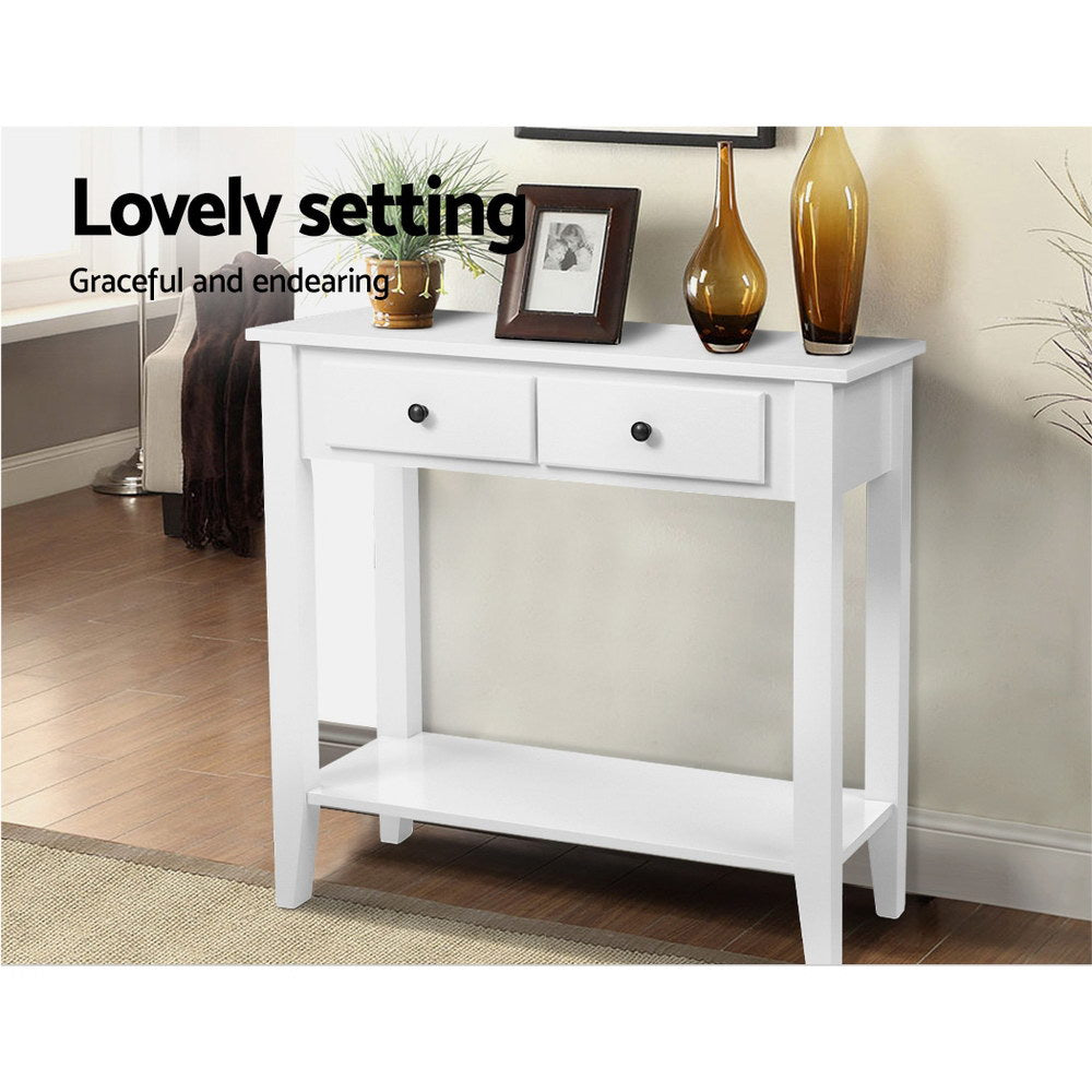 Artiss Console Table White 2 Drawers