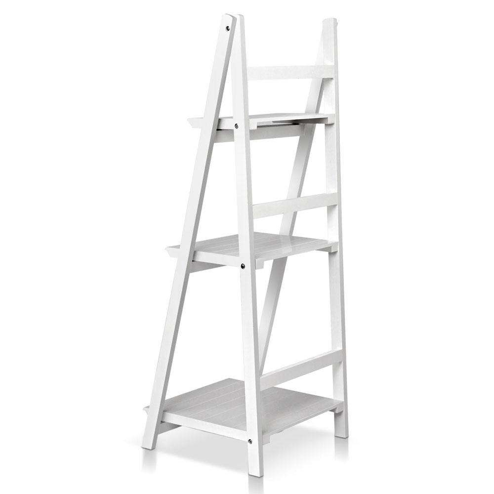 Wooden Ladder Display Storage Shelf White - Desirable Home Living