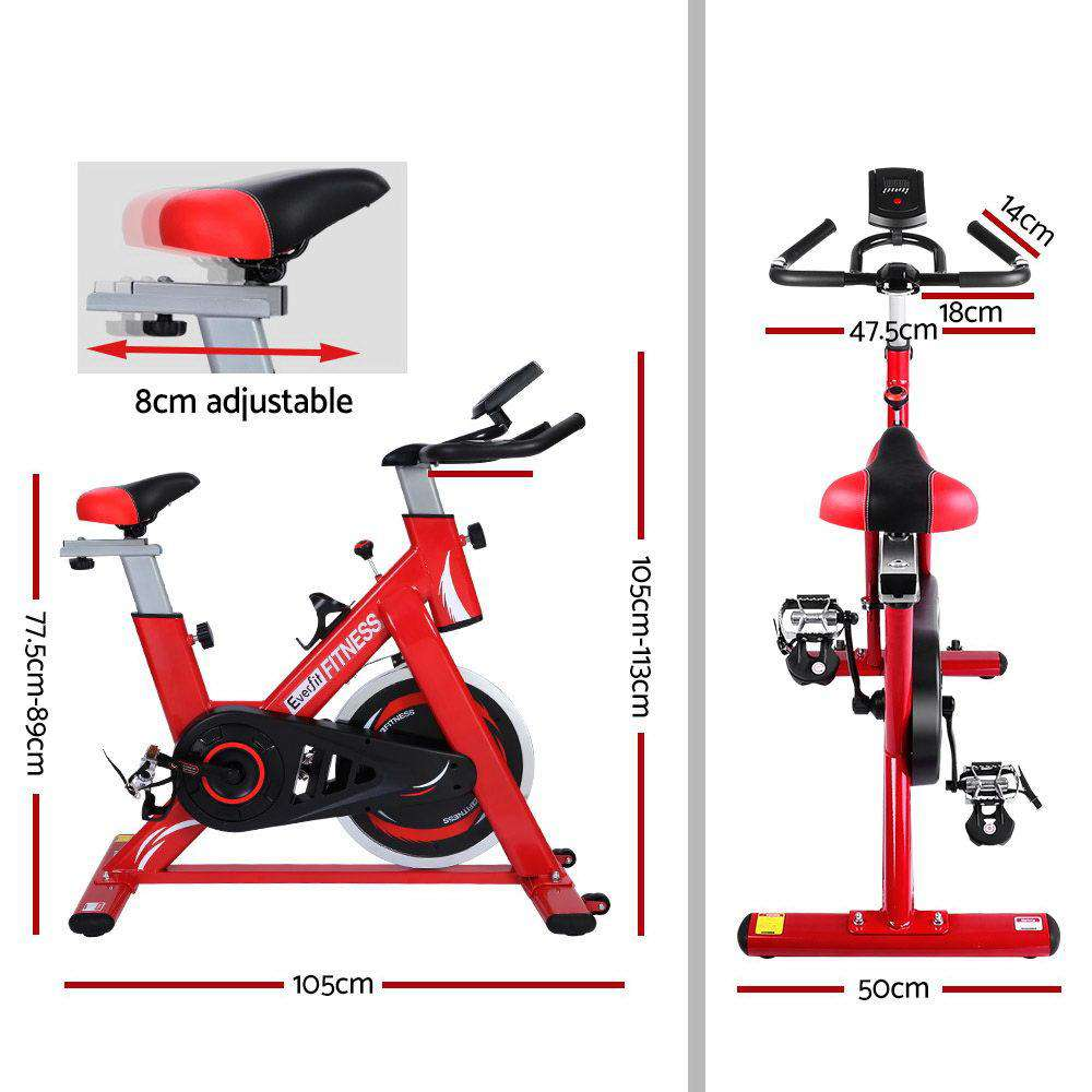 Everfit Spin Exercise Bike Cycling Flywheel Fitness Commercial Home Gym Red