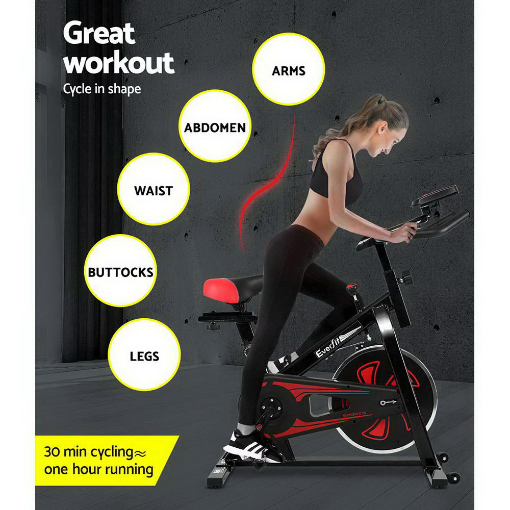 Everfit Spin Exercise Bike Cycling Fitness Black
