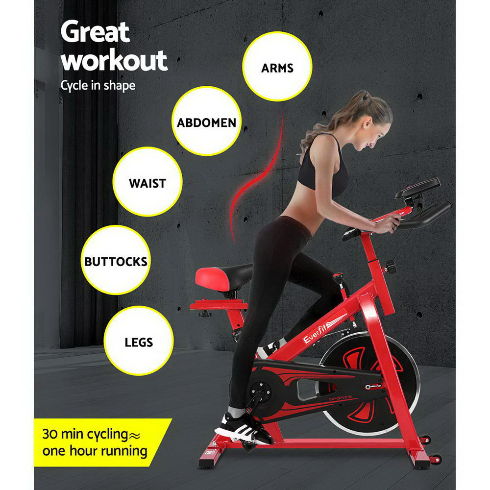Everfit Spin Exercise Bike Cycling Fitness Red