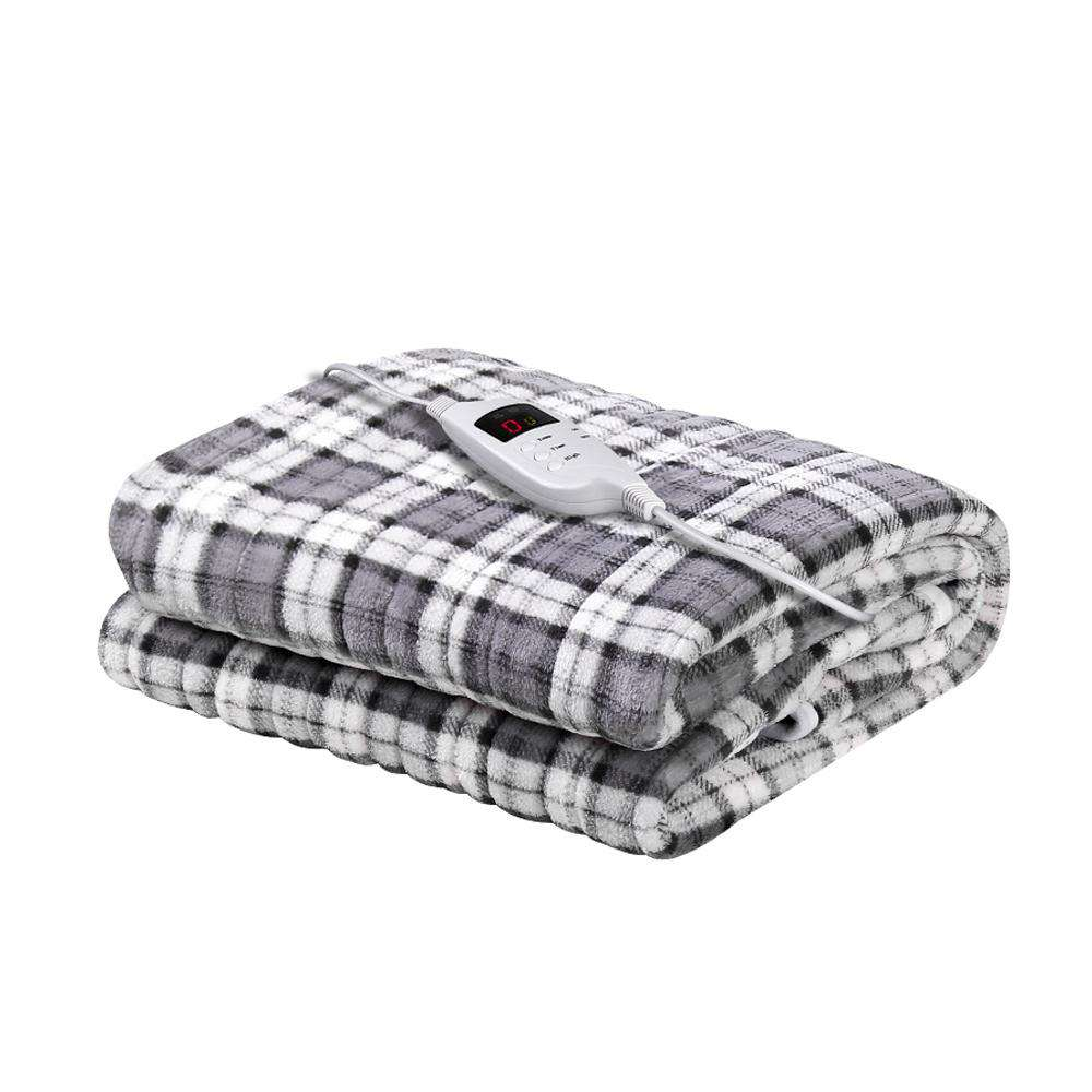 Giselle Bedding Electric Throw Rug Flannel Snuggle Blanket Washable Heated Grey and White Checkered