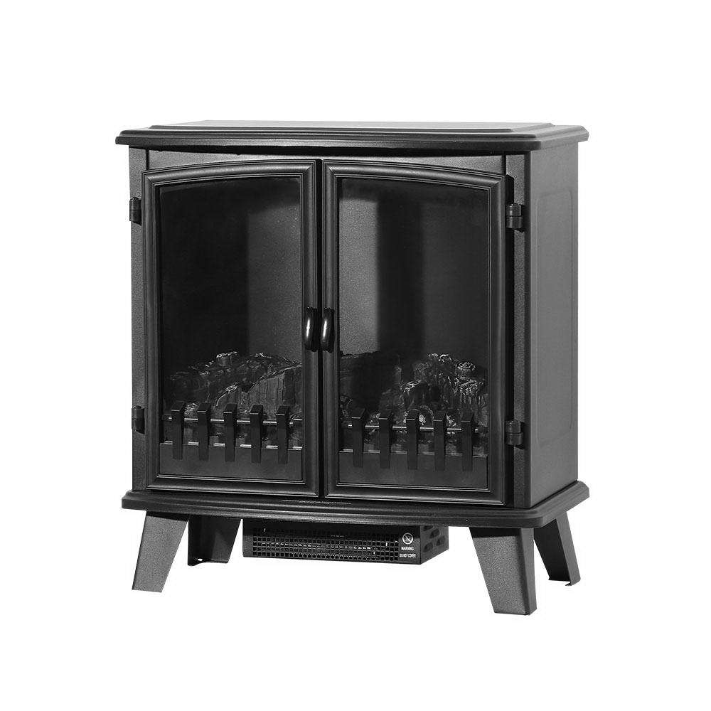 Devanti Electric Fireplace Heater Portable Fire Log Wood Effect Dual Door 1800W Black