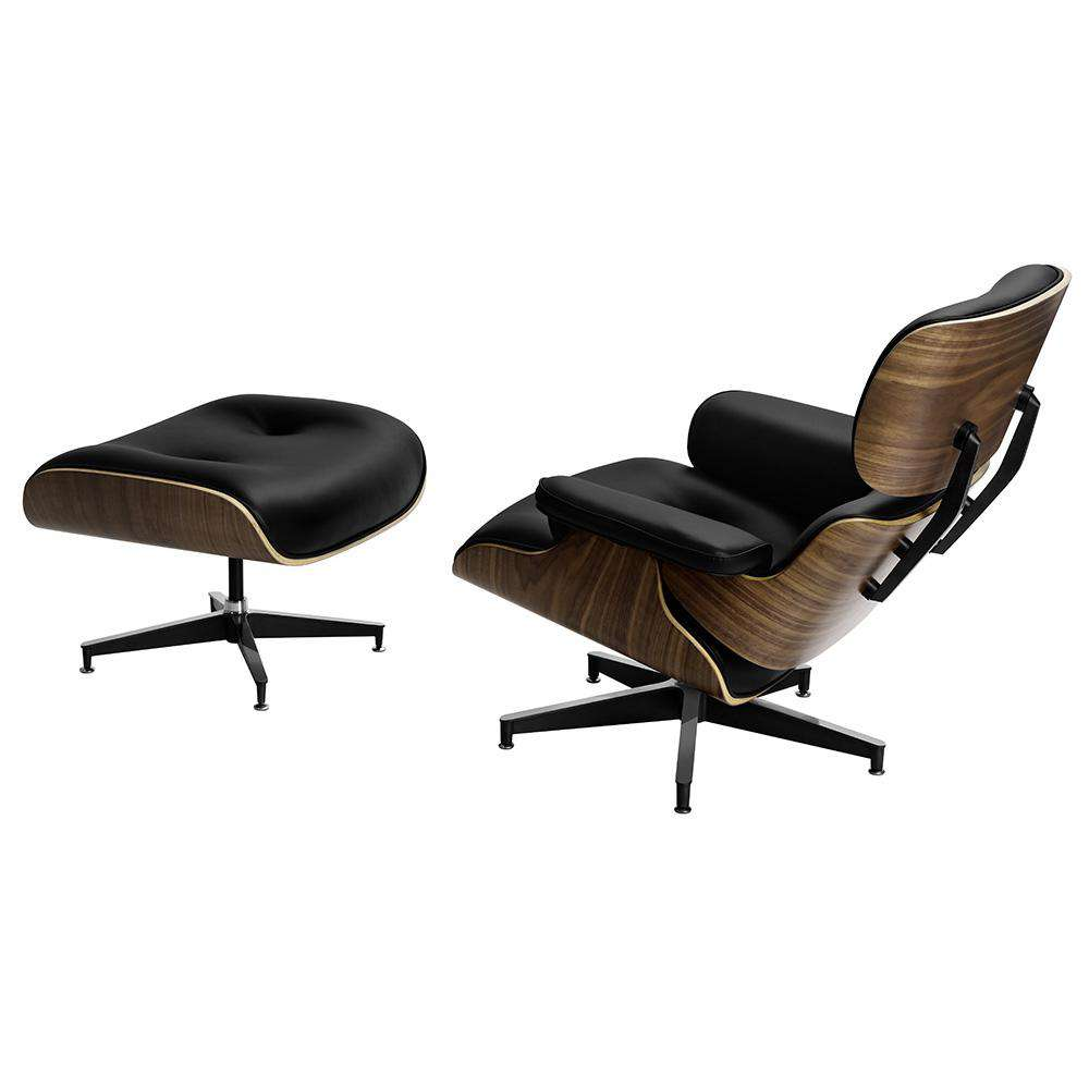 Artiss Eames Replica Lounge Chair and Ottoman Recliner Armchair Leather Plywood Black