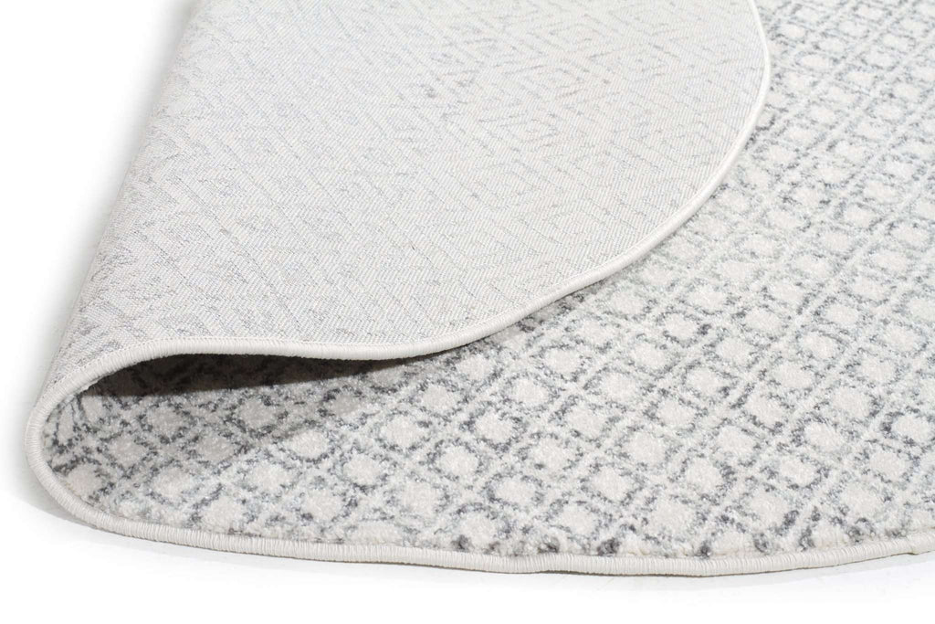 Evoke Diamond Grey Transitional Round Rug