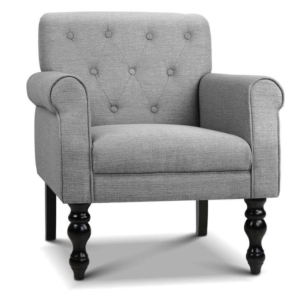 Wingback Linen Fabric Accent Armchair Grey Desirable