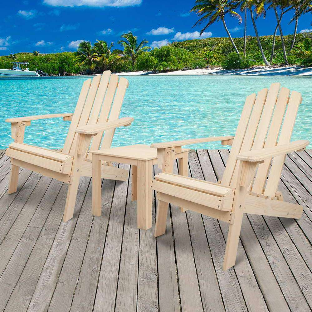 Adirondack Chairs & Side Table  3 Piece Set - Natural - Desirable Home Living