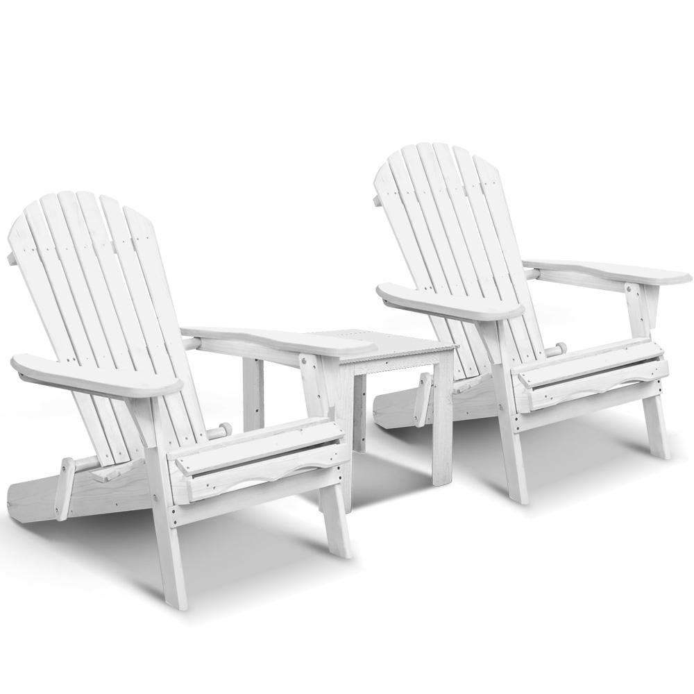 Gardeon 3 Piece Outdoor Adirondack Chair and Table Set - White