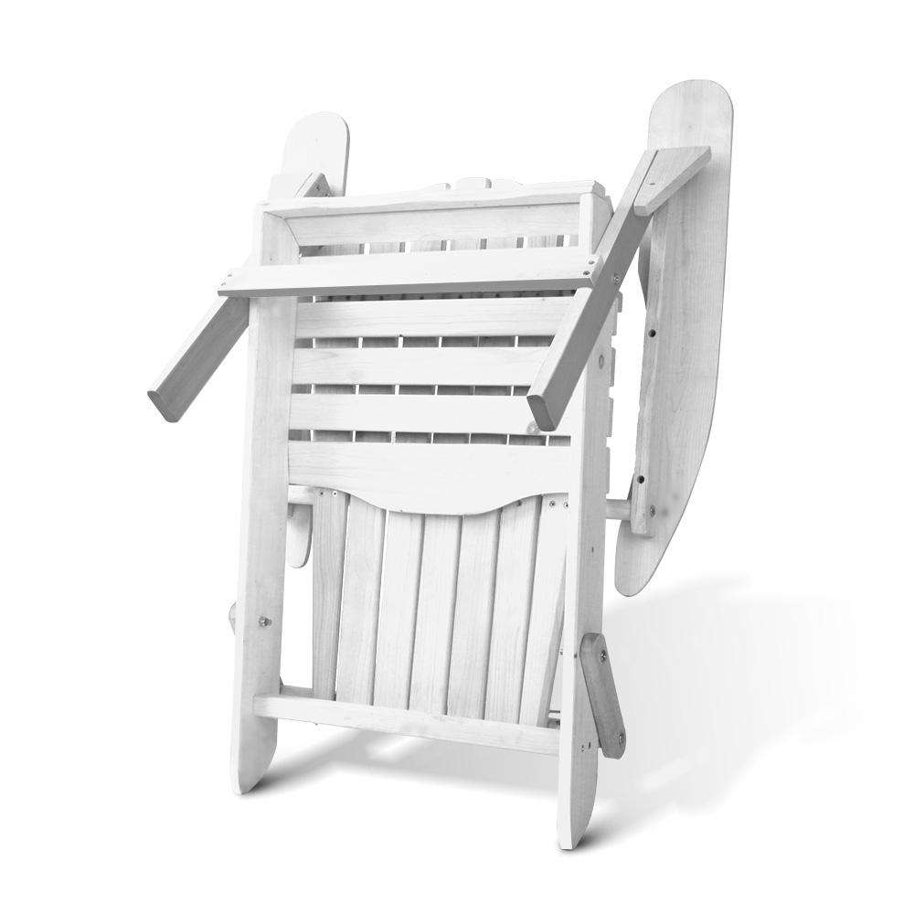 Gardeon 3 Piece Outdoor Adirondack Beach Chair and Table Set - White