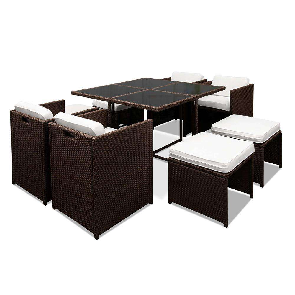 Hawaii Dining 9 Seater Set – Brown & White
