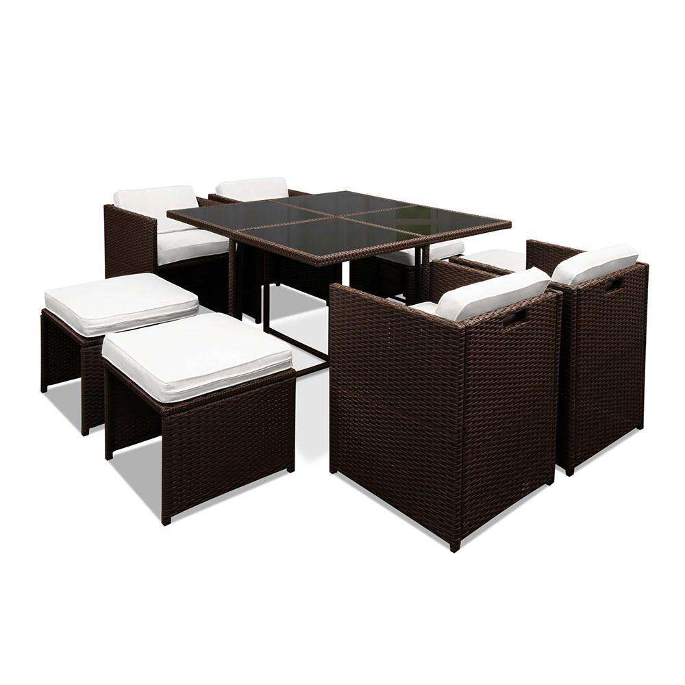 Hawaii Dining 9 Seater Set – Brown & White - Desirable Home Living
