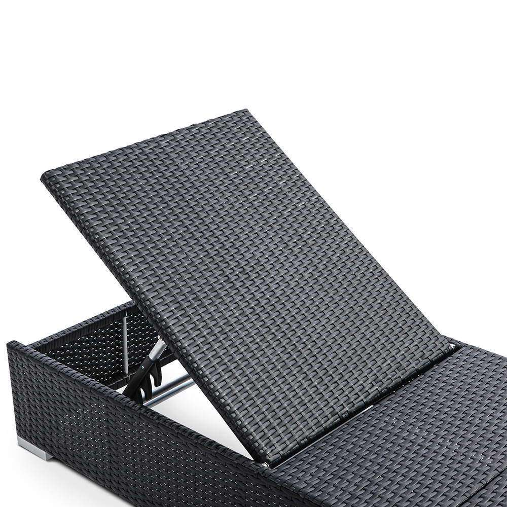 Wicker Sun Lounger with 3 Cover Sets -  Black - Desirable Home Living
