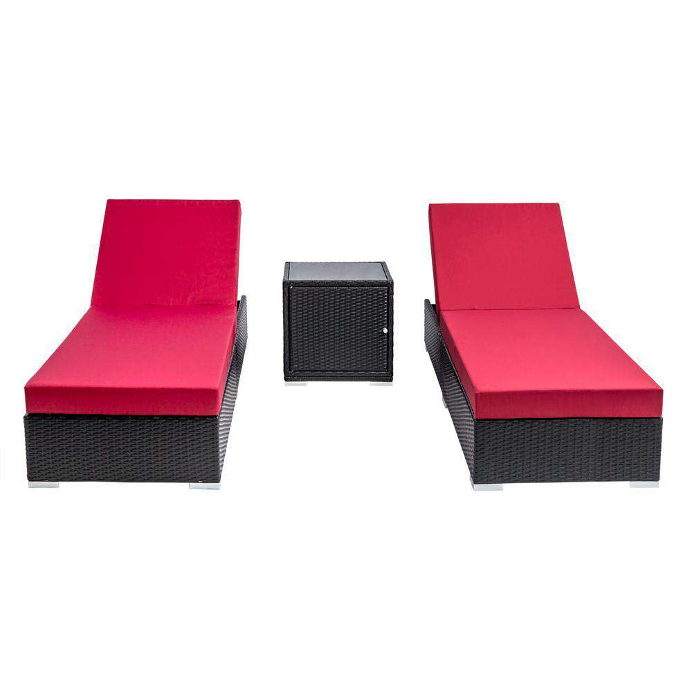 3 pcs Black Wicker Rattan 2 Seater Outdoor Lounge Set Grey - Desirable Home Living