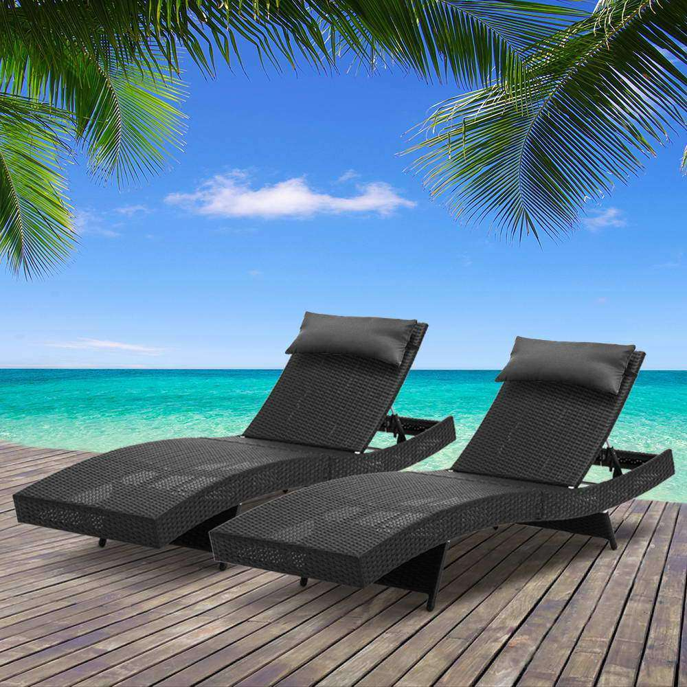 Set of 2 Outdoor Sun Lounge Black - Desirable Home Living