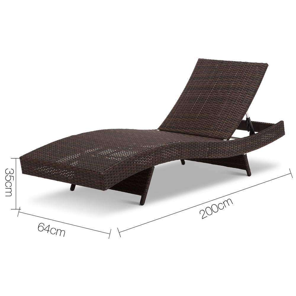 Set of 2 Outdoor Sun Lounge Brown - Desirable Home Living