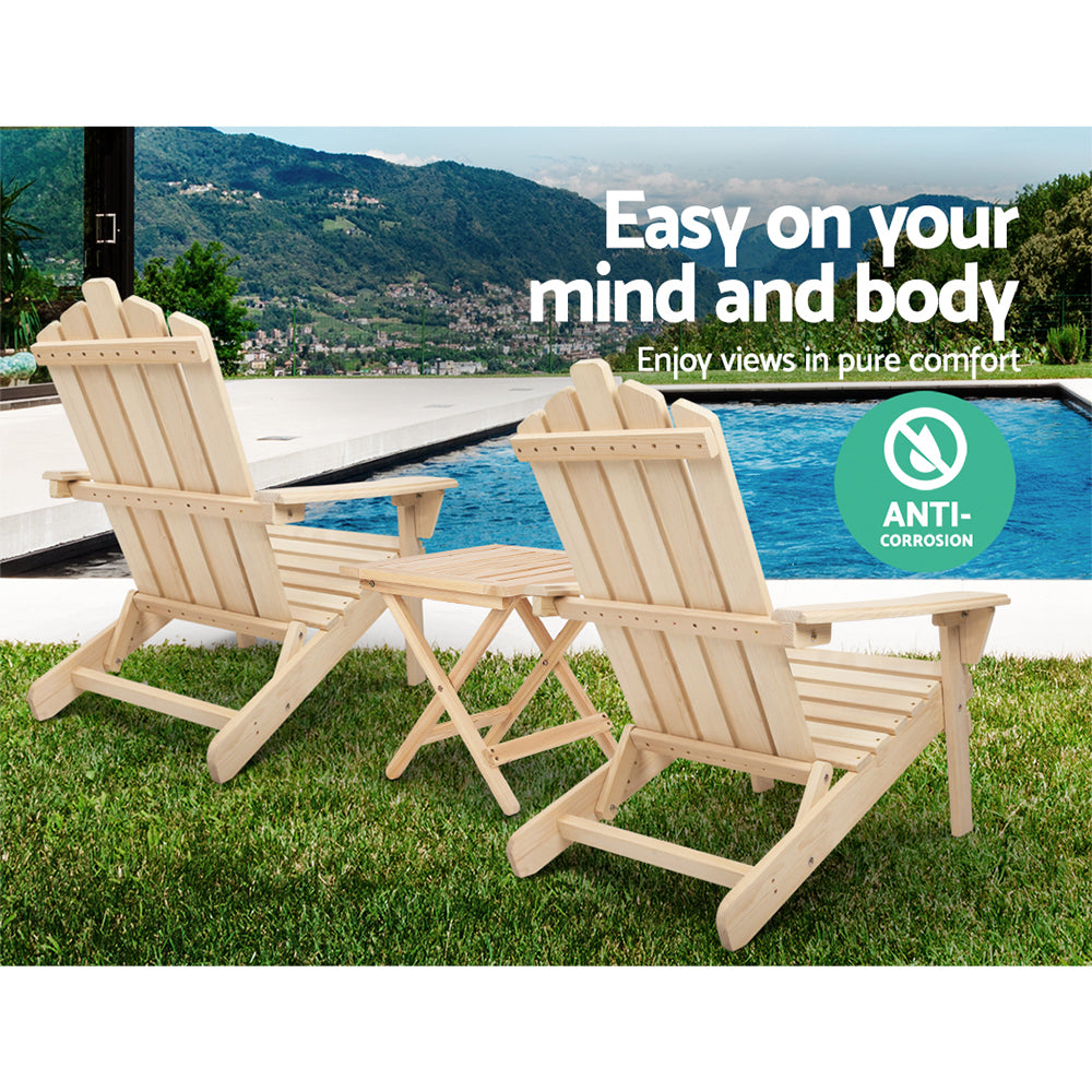 Gardeon Outdoor Chairs Table Set Adirondack