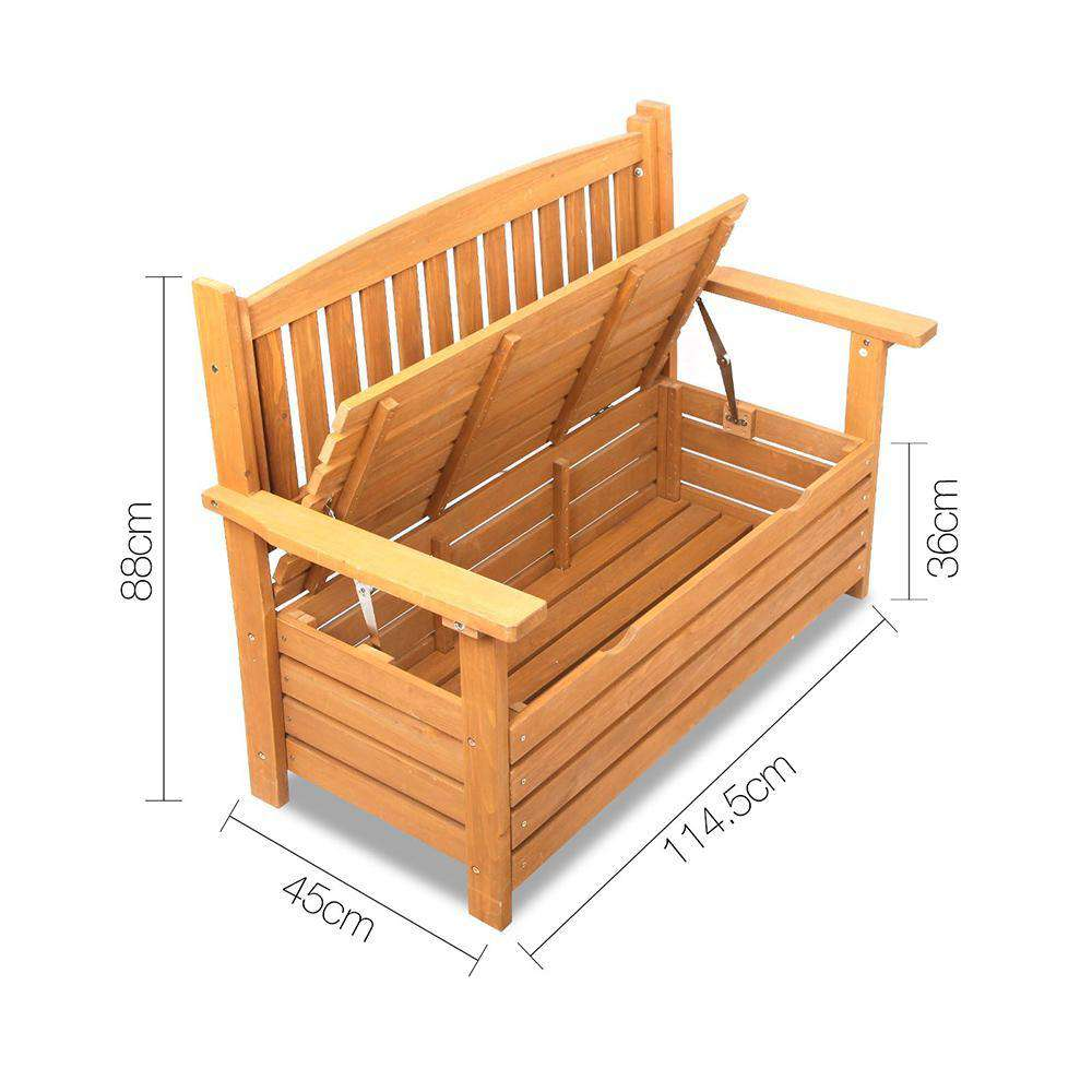 Wooden Outdoor Storage Bench - Desirable Home Living