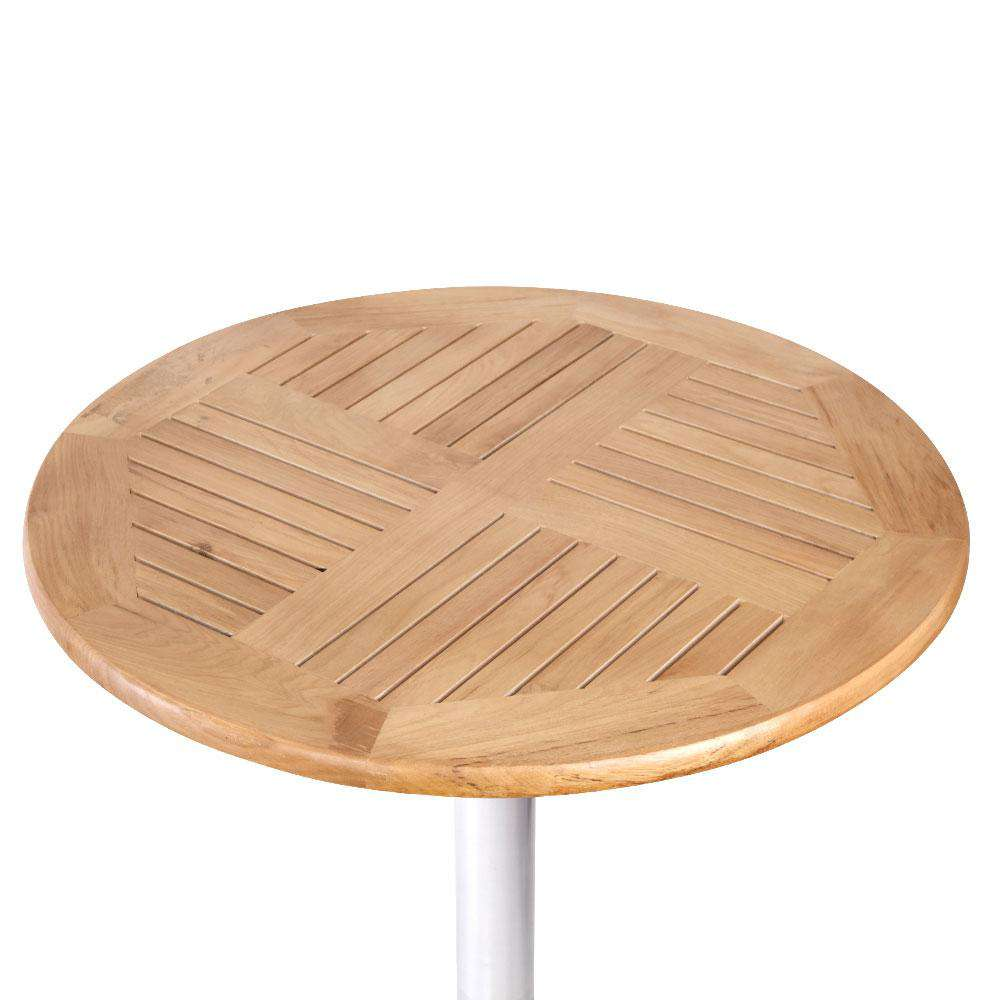 Gardeon Outdoor Bar Table Aluminium Adjustable Wooden Table Round 70 /110cm