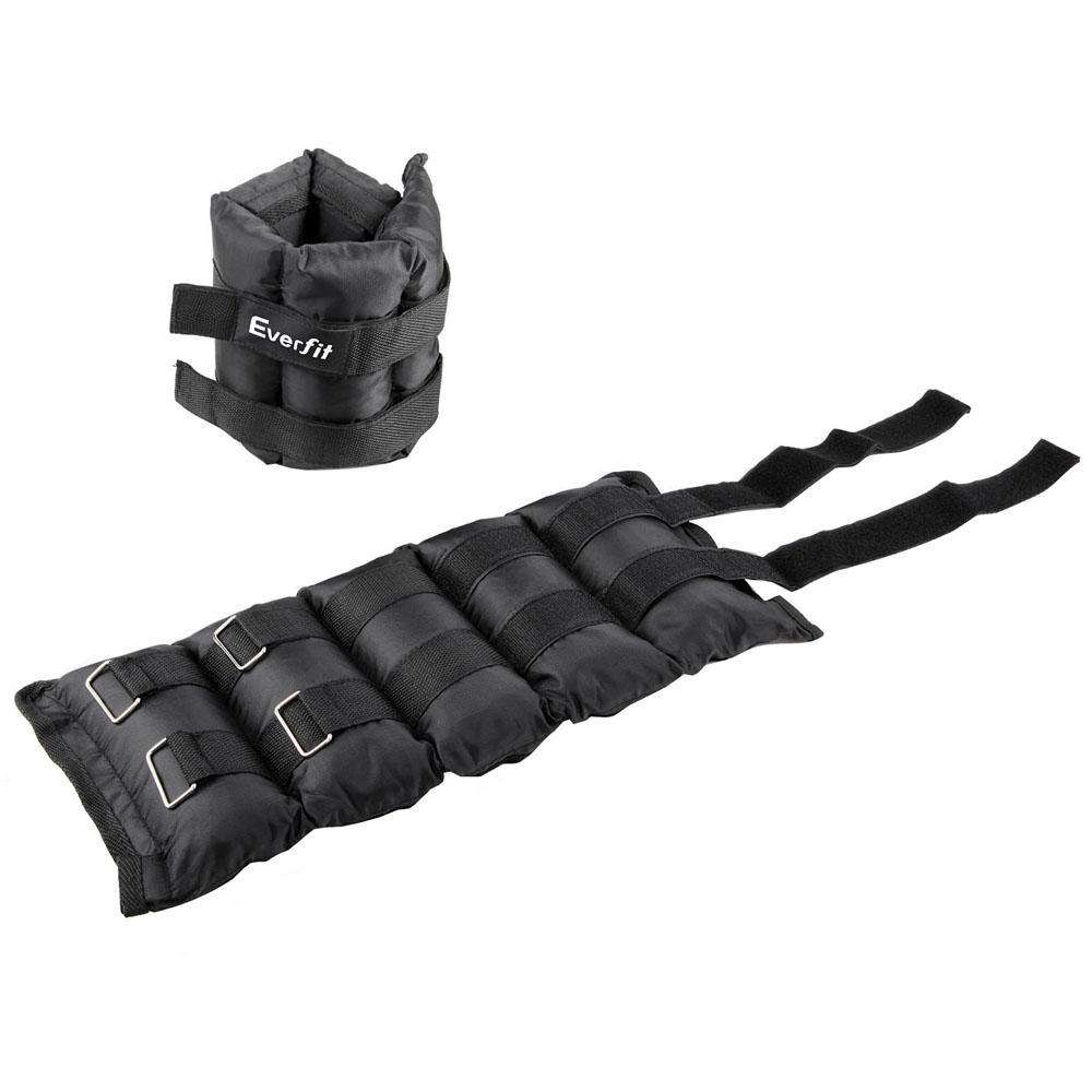 Set of 2 5 kg Wrist Ankle Weights Gym Training w/ Adjustable Pair Strap