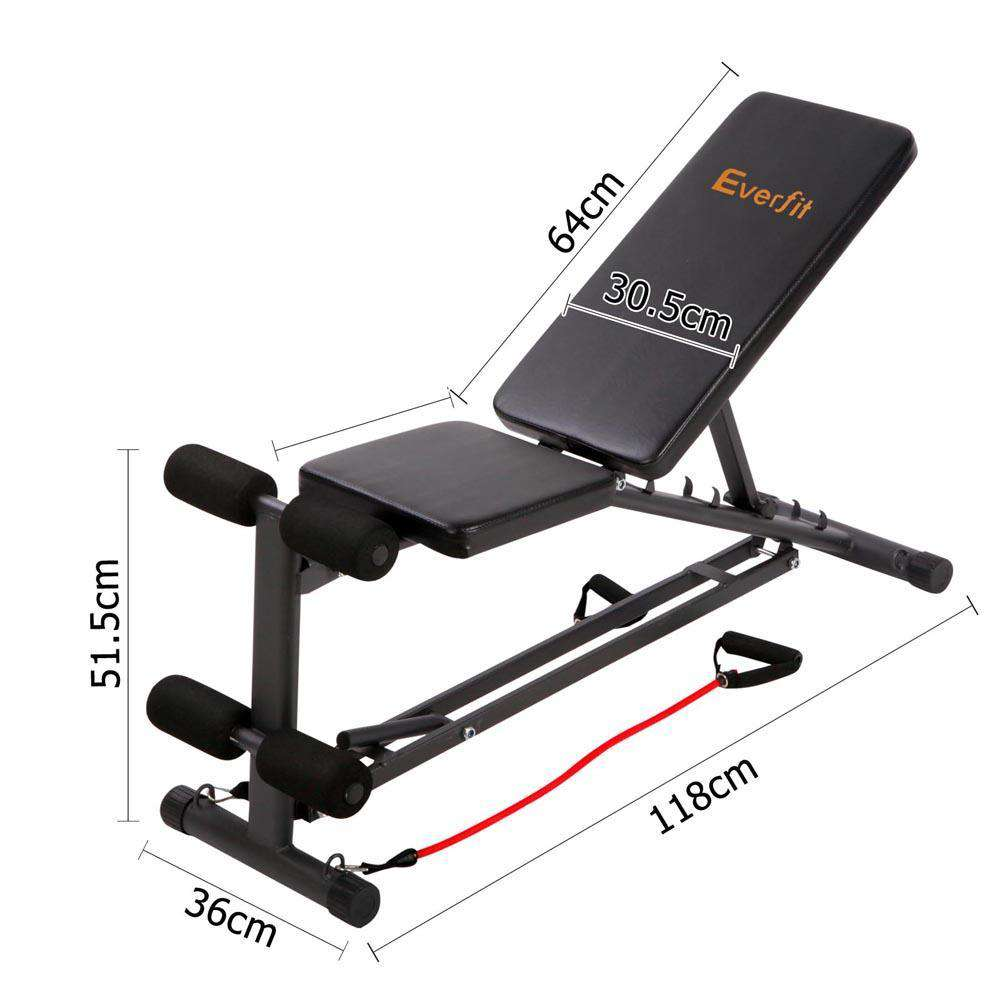 Everfit Adjustable F.I.D Bench with Resistance Bands 118cm